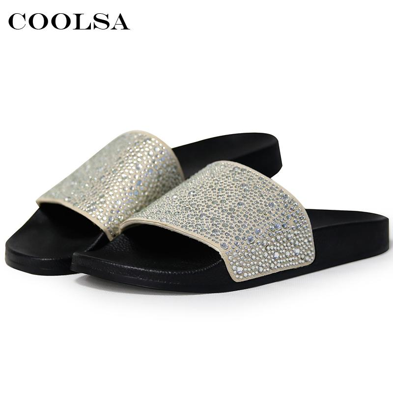 Hot Summer Women Diamond Slippers PU Bling Rhinestone Slides Flat Indoor Flip  Flops Female Fashion Crystal Casual Beach Sandals Slipper Boots Slipper  Socks ... fd804693f765