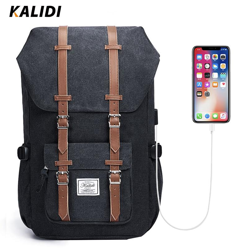 54a60e1636ea KALIDI Laptop Backpack 15.6-17.3 inch for Teenage School Travel Bag Leather  Casual Backpack 15-17 inch Travel Women Men