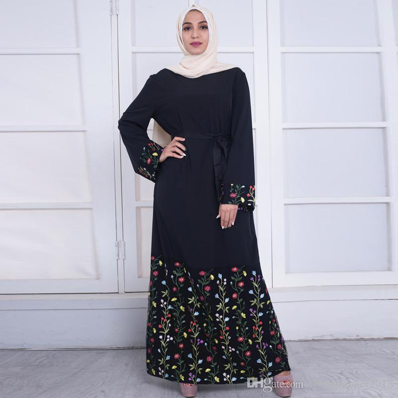 46ac36b9ab7 Plus Size 2018 UAE Abaya Kaftan Dubai Bangladesh Turkey Women Lace  Embroidery Hijab Muslim Dress Robe Turkish Islamic Clothing Tight White  Dresses For ...