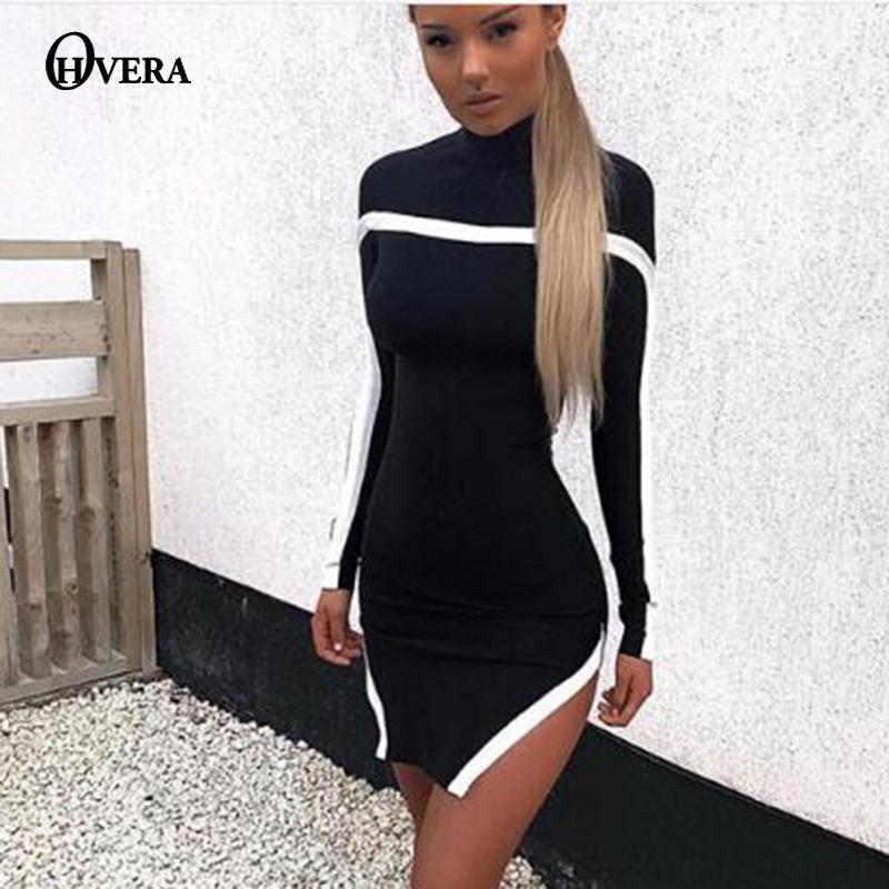0b4e990f6d846 Satın Al X82602Ohvera Örme Triko Elbise Kadınlar Siyah Elastik Sonbahar Kış  Elbise 2018 Mini Bölünmüş Bodycon Günlük Elbiseler Zarif Vestidos, ...