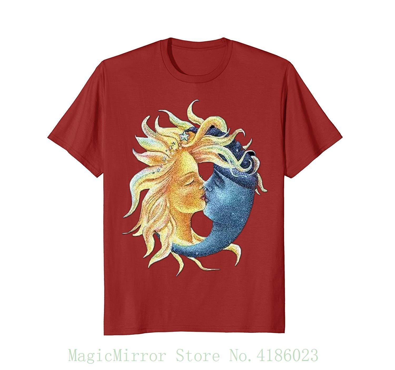 3d3d9d419 Compre Sol Beijando Lua Camisa New Arrival Masculino T Shirt Casual Menino  Tops Descontos De Magicmirrorstore