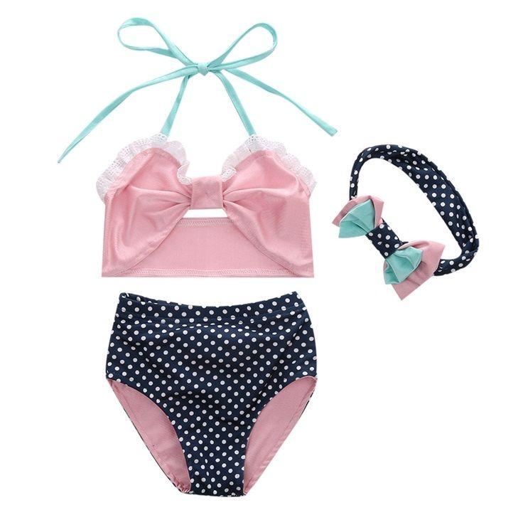 cac6c6959e 2018 Girls Childrens Swimwear Clothing Sets Pink Swimsuit Tops Shorts  Headbands 3Pcs Summer Girl Kids Bathing Suit Boutique Swim Clothes