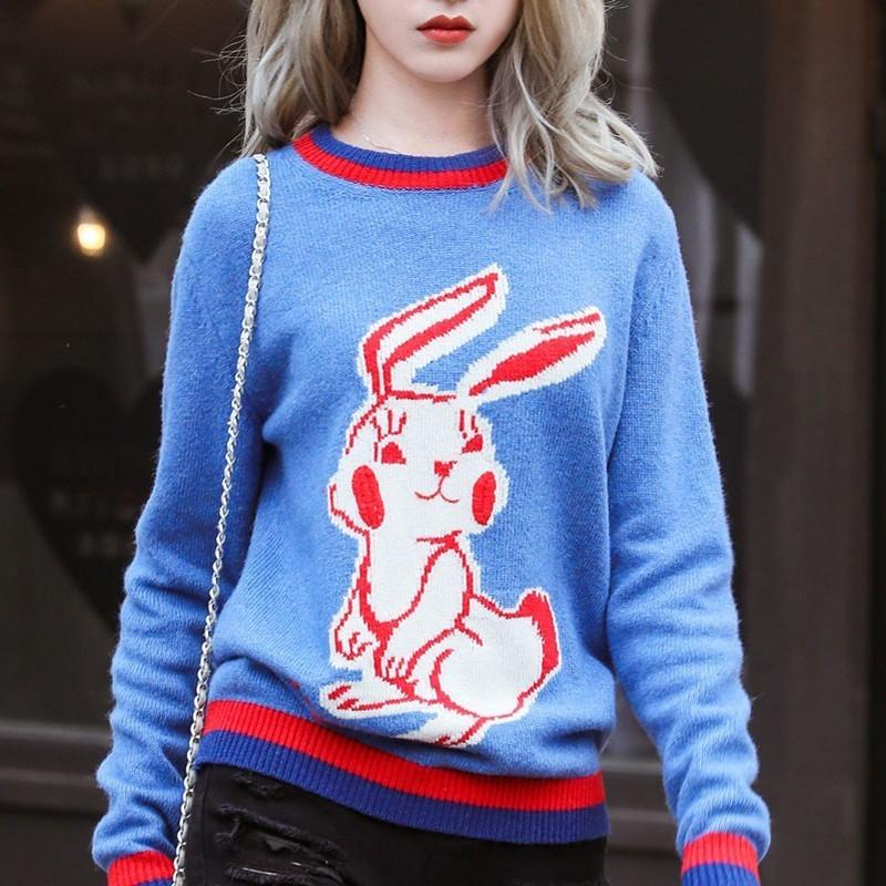 New Luxury Rabbit Cartoon Wool Sweater Tops Fashion Pullover Long Sleeve  Trend Spring Autumn Casual Street Outwear Hoodies HFYMWY066 Wool Sweater  Tops ... abdf3a278817