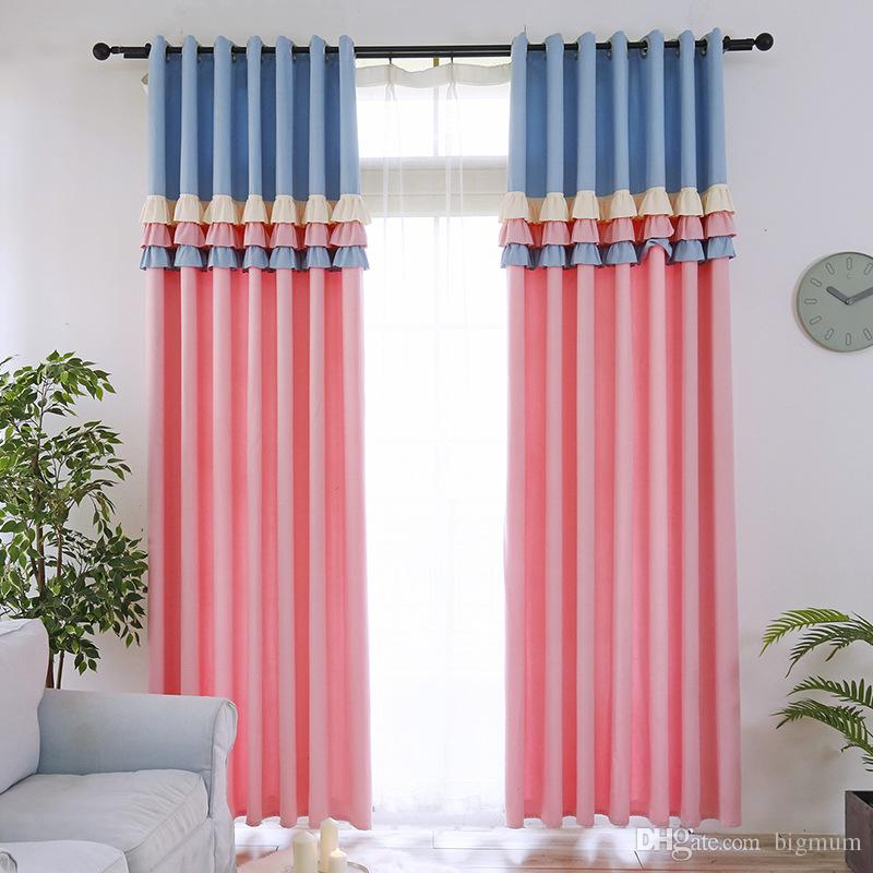 2019 Sweetheart Princess Style Blackout Curtain For Kids Room Girl Room  Cute Blue/Pink Lace Stitching Curtain For Living Room Curtain From Bigmum,  ...