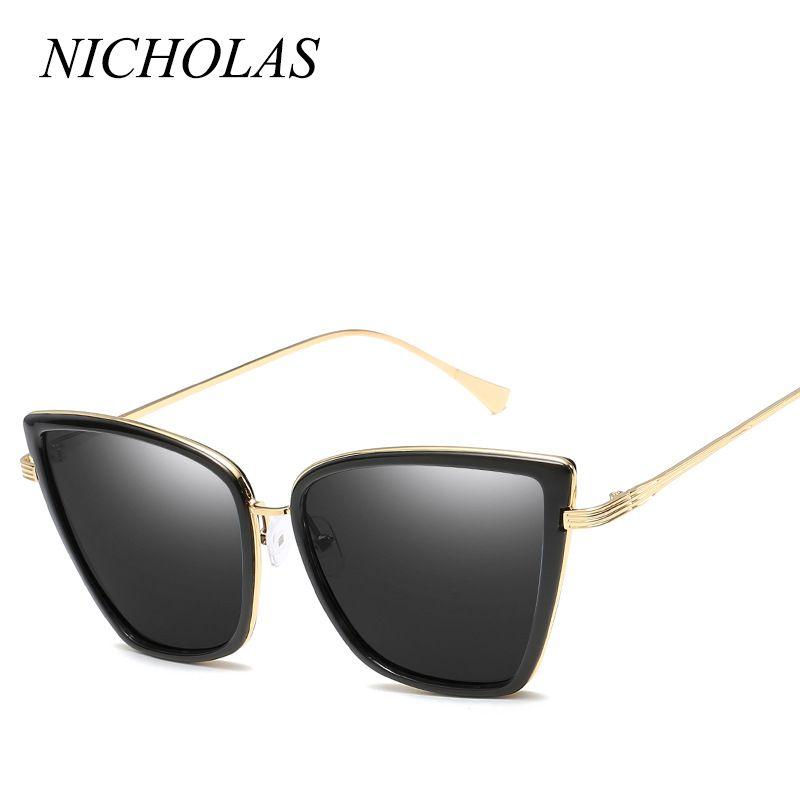 e601f6baa2b655 Acheter Nicholas Cat Eye Lunettes De Soleil Femmes Hommes Marque Design  Grand Cadre Vintage Lunettes De Soleil Femmes Hommes Oculos De Sol Feminino  Lunette ...