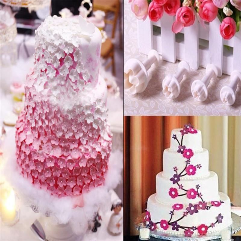 2019 Set Plum Flower Icing Cutter Fondant Cake Decorating Plunger