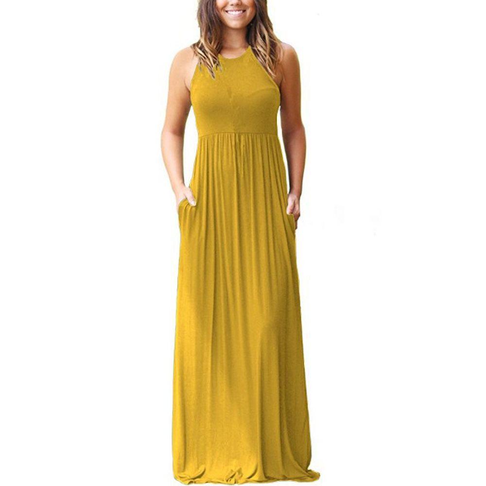 ebe8e450ecd Women S Summer Sleeveless Racerback Dress 2018 New Loose Casual Maxi Long  Dresses With Pockets Dress Patterns Ladies Dresses From Azhens