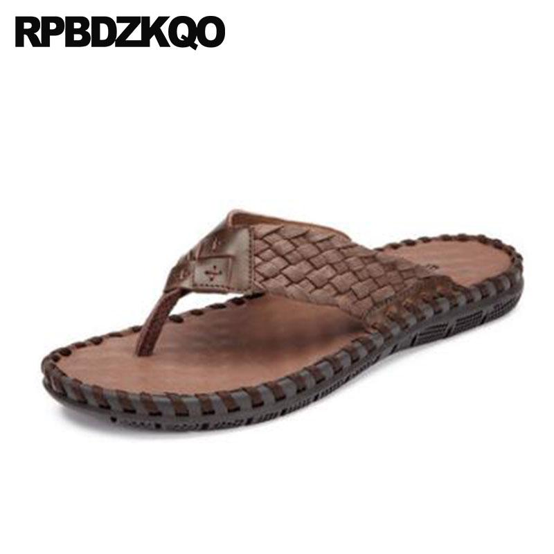 c1db741ca5c74c Slip On Mens Sandals 2018 Summer Outdoor Soft Designer Casual Men Woven  Brown Italian Flat Slippers Beach Shoes Flip Flop Slides Black Sandals  Ladies ...