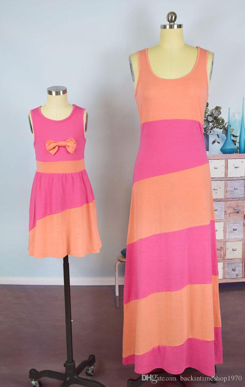 Mother And Daughter Bow Dresses Baby Girls Patchwork Dress Kids Parents Summer Long Dresses Family Matching Outfits
