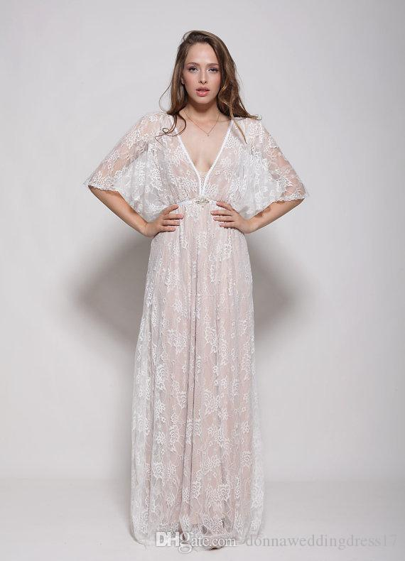 2018 Women White Summer Lace Dress Batwing Sleeve Backless Adjust Waist Dress Sexy See Through Hollow Out Vestido Maxi Wedding Party Gowns