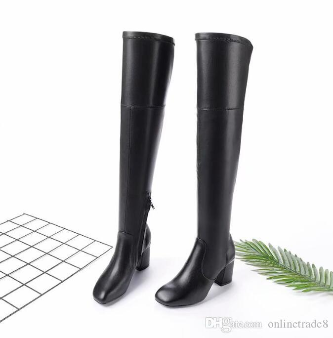 aca72807745 Brand Newest Black Leather Long Boots Round Toe Chunky Heels Boot Fashion  Autumn Winter Lady Shoes Dress Shoes Shoe Boots Over Knee Boots From  Onlinetrade8