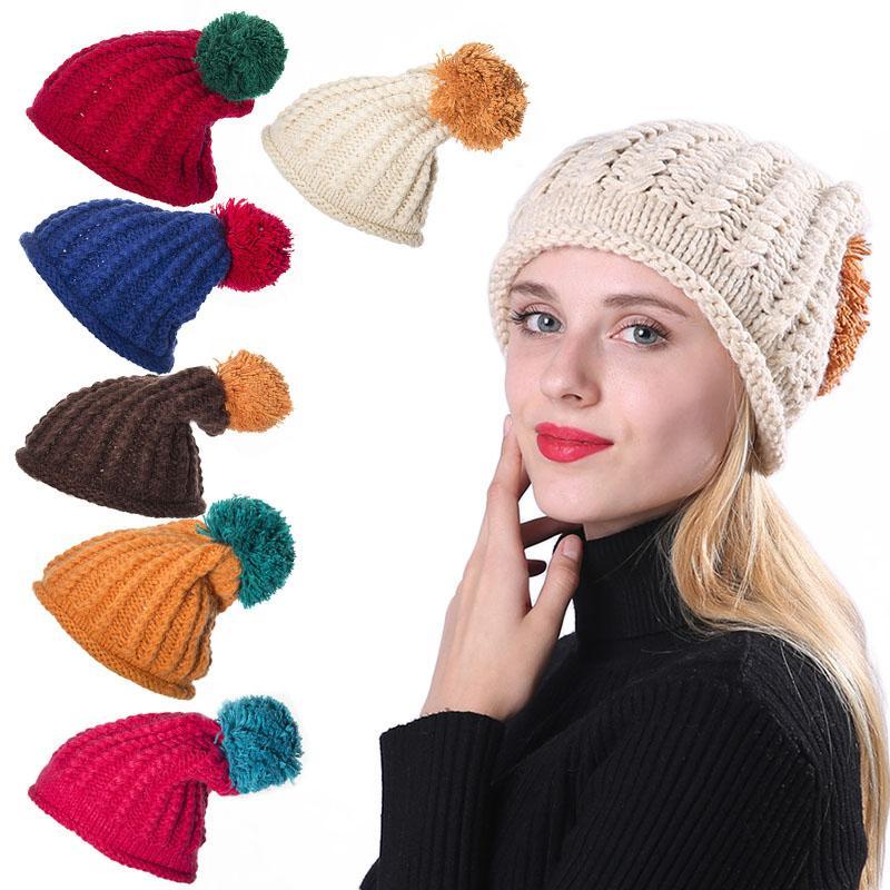 793914761f97d Women Winter Warm Ball Cap Pom Poms Hat Girls Thick Knitted Skullies ...