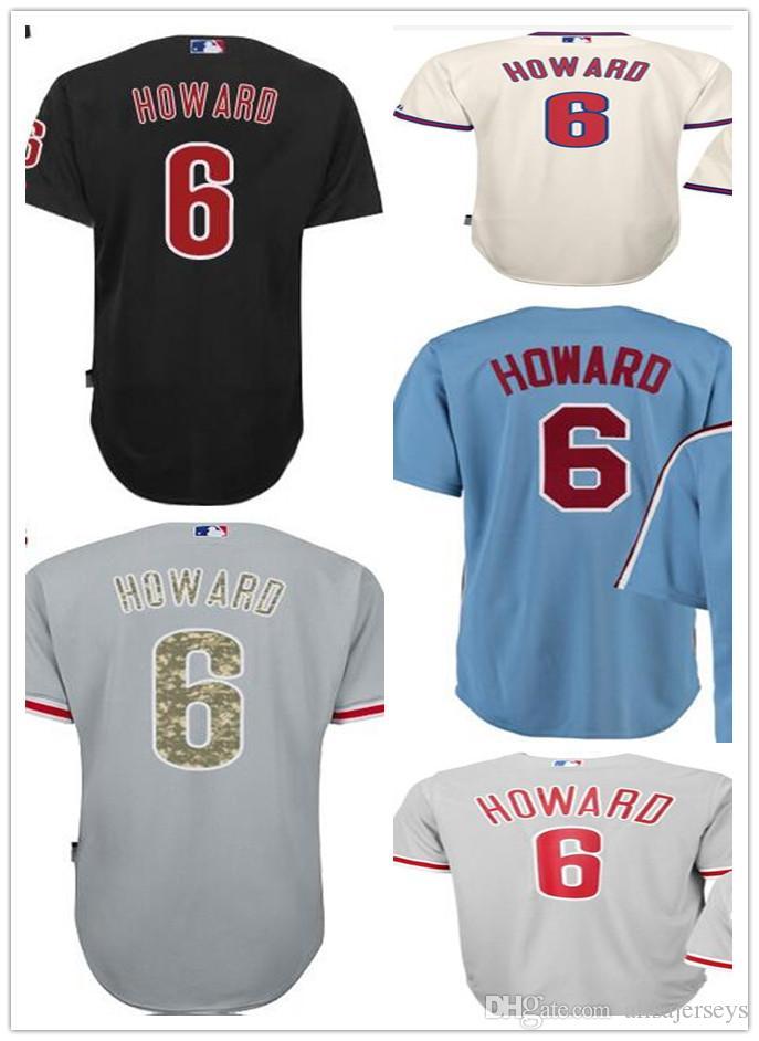 sale retailer d862f 4466f Black cream grey blue Ryan Howard Authentic Jersey , Men's #6 Ryan Howard  Cool Base