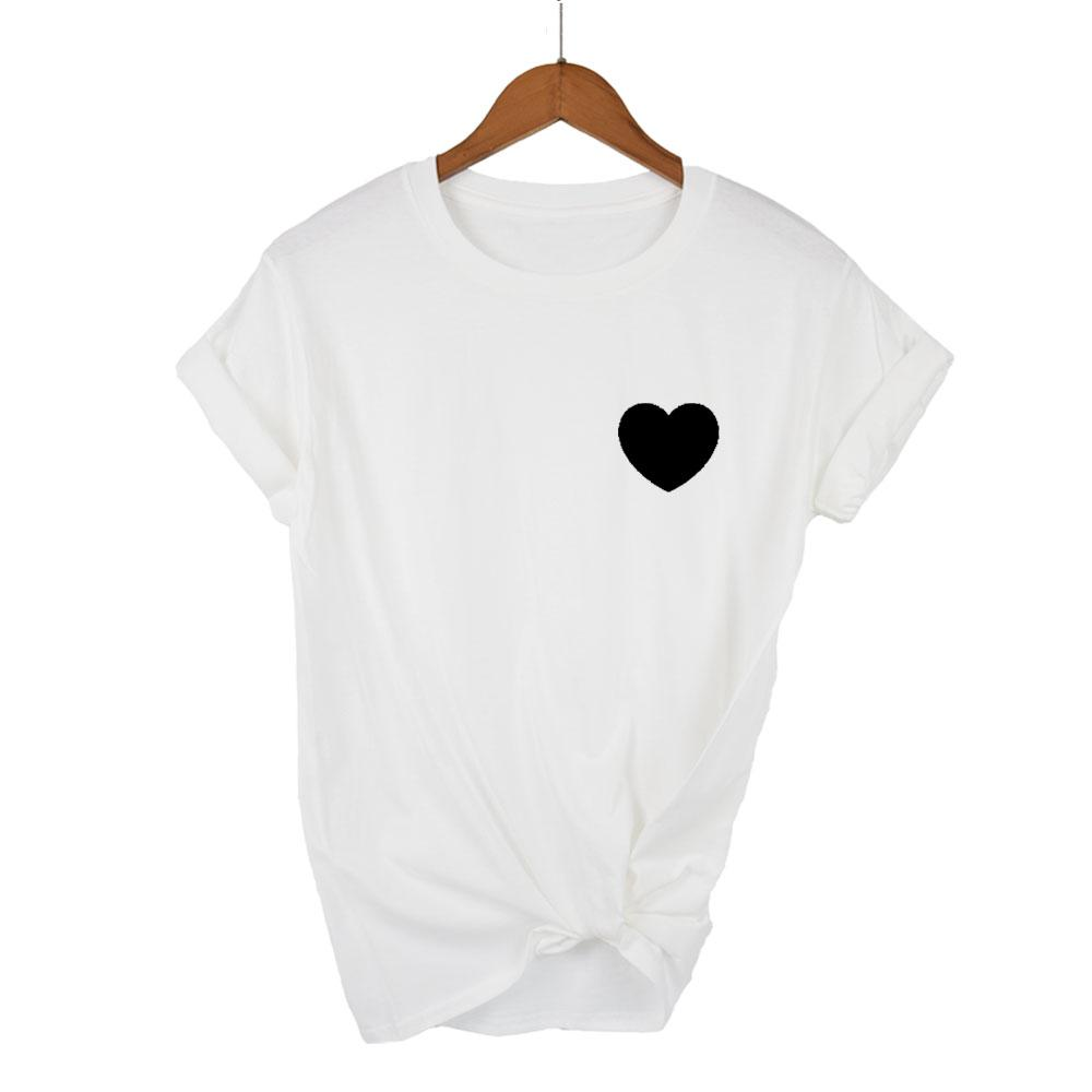 348fd0239 Compre Harajuku Amor Impressão Verão Bonito Camiseta Para Mulheres Tumblr Feminino  Casual T Shirt Manga O Pescoço De Manga Curta Roupas Kawaii Branco De ...