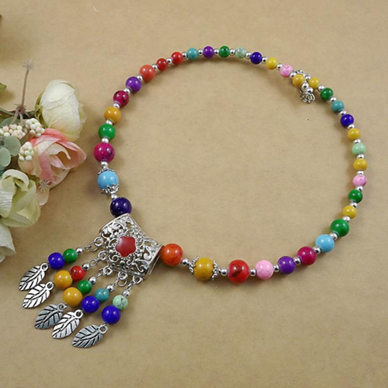 Cristal de estilo bohemio Collar de perlas de piedra natural Hoja de metal colgante Borla Fringe Turco Boho babero Collar étnico JJAL N393