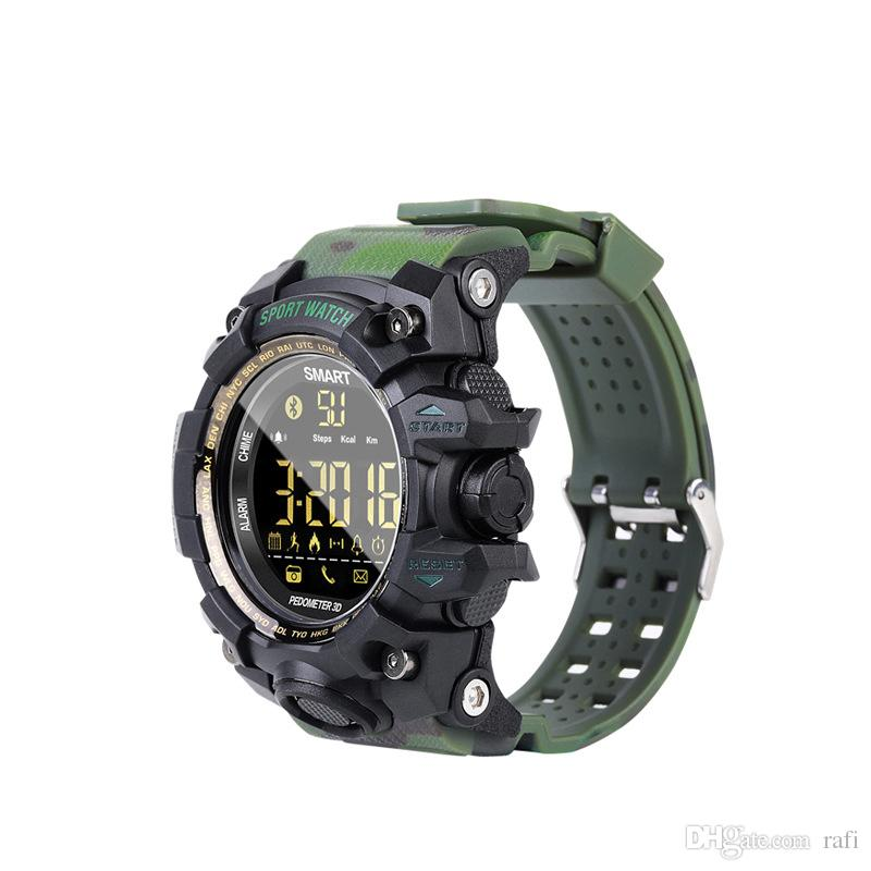 Nuovo arrivo EX16S smart watch camouflage Bluetooth IP67 impermeabile Remote Camera Fitness Tracker articolo di moda da dhl