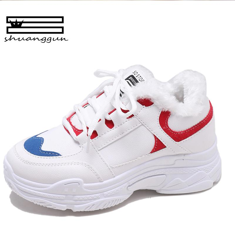 2018 Autumn Winter Fashion Women Casual Shoes Suede Leather Platform Shoes  Women Sneakers Ladies White Trainers Chaussure Femme Gold Shoes Mens Casual  Shoes ... b36df8c84efc