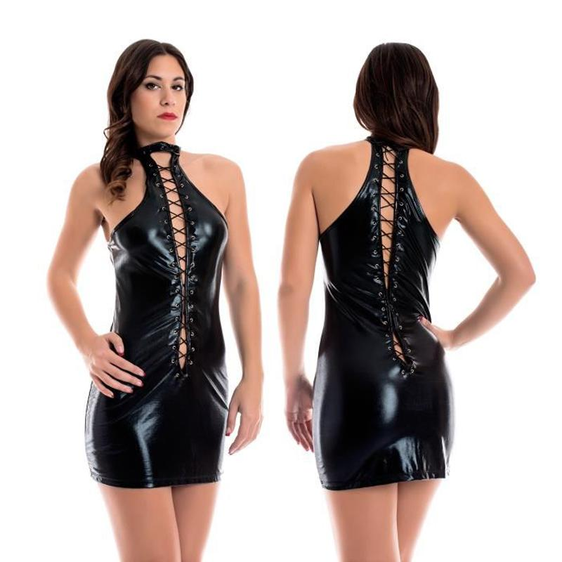 Dresses Original Women Wetlook Mesh Sexy Club Dresses Black Faux Leather Halter Backless Tight See Through Dress Mini Dress Clubwear