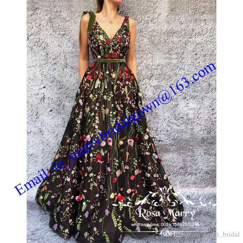 Diseño árabe Tallas grandes Vestidos de noche baratos 2020 Sexy Yousef Aljasmi Moda Dubai Kaftan Negro floral Formal Celebrity Prom vestidos