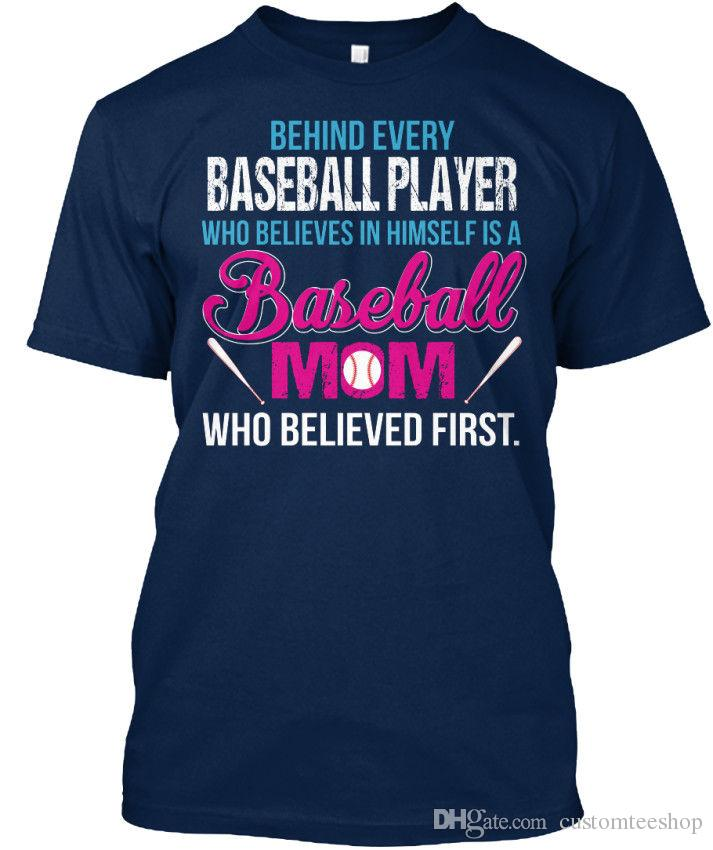 Baseball Mom Christmas Gift S Behind Every Player Who Standard Unisex T-Shirt Tee Shirt Men Male Camisa Masculina Custom Short Sleeve Plus S