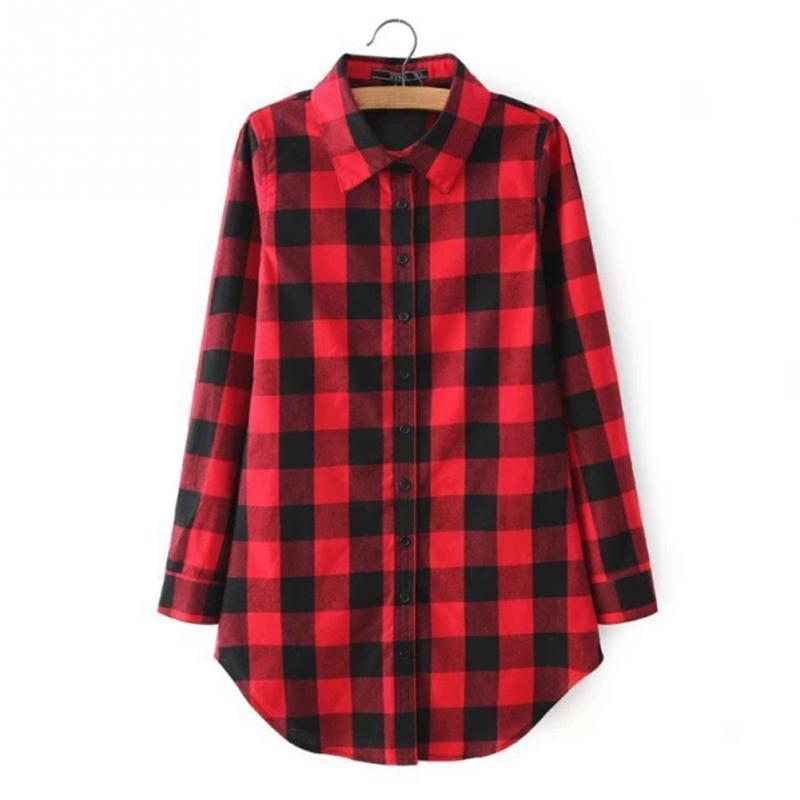 2018 kariertes Hemd weibliche College Style Frauen Blusen Langarm Flanellhemd plus Größe beiläufige Blusen Shirts M-XL schwarz rot