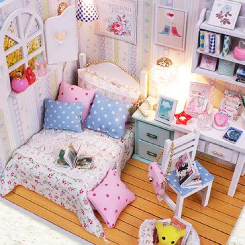 wooden barbie dollhouse furniture. Wholesale Kits Diy Wood Handmade Dollhouse Bed Miniature With Led+Furniture+Cover Magic Wooden Barbie Furniture Dolls House Cheap From Vanilla14,