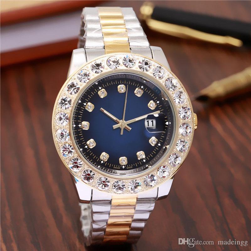 6d3b3513f Compre 44 Mm Marca De Moda Elegante Diseñador Relojes De Lujo De Lujo Para  Mujer, Grandes Damas Rosadas, Calendario De Reloj De Oro, Esfera Blanca, ...