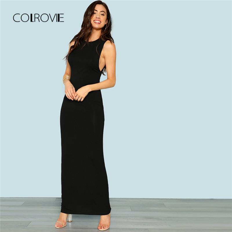 be10e6065df 2019 COLROVIE Black Mock Neck Sleeveless Low Side Party Dress 2018 Autumn  Sexy Long Bodycon Dress Elegant Stretchy Women Dresses From Yyliang