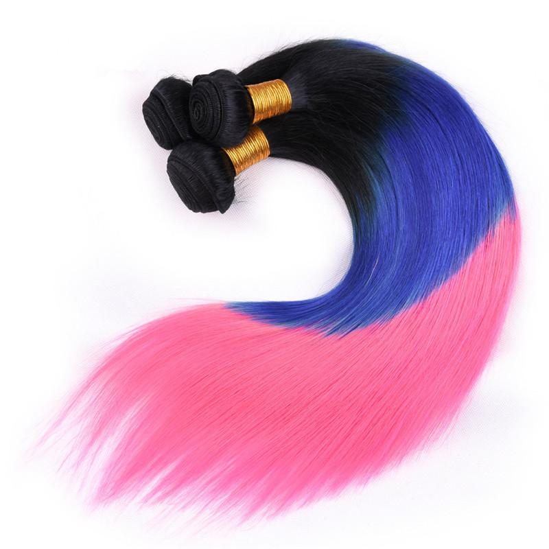 Three Tone Colored # 1B / Blue / Pink 옹 브르 페루 버진 인간의 머리카락이 4x4 레이스 탑 폐쇄 Silky Straight로 3 묶음 거래