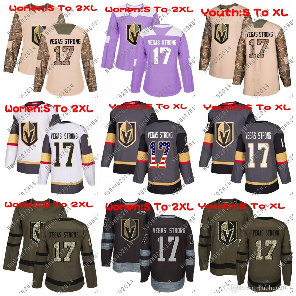 buy online 1d25e cd0dd Women Youth 17 Vegas Strong Hockey Jersey Vegas Golden Knights USA Flag  2018 Fights Cancer Camo Veterans Day Green Premier Salute To Service