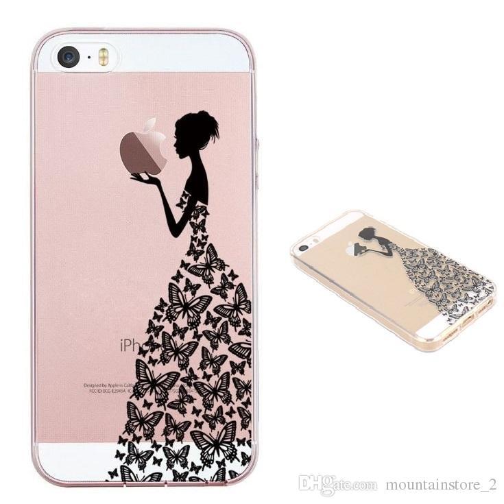 e360c971c51 Carcasas Personalizadas Para IPhone5 / 5S / SE Funda Beautiful TPU Funda  Blanda Funda De Piel De Silicona Para IPhone 6/7/8 Negro Hermosa Chica  Mariposa ...