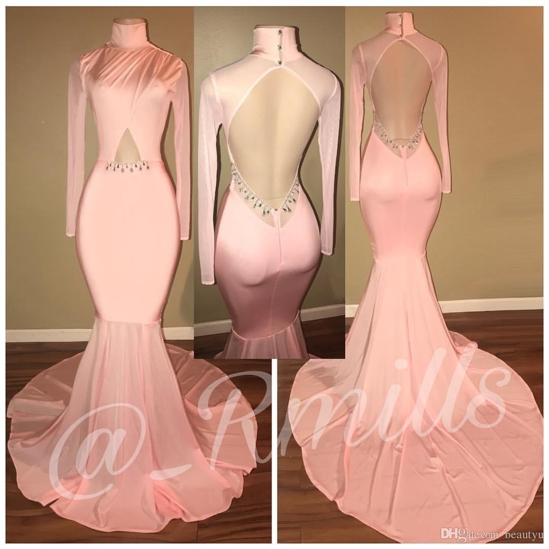 594c2183e2 2018 Prom Dress Pink Sexy Mermaid Red Carpet Evening Dresses With Crystals  High Neck Open Back Long Sleeve African Black Girl Formal Wear