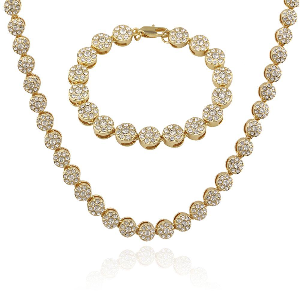 dbbf4cf5797ed hip hop bling diamonds tennis bracelet necklace men fashionable graduated  jewelry sets rapper singer dancer jewelry cuba chain