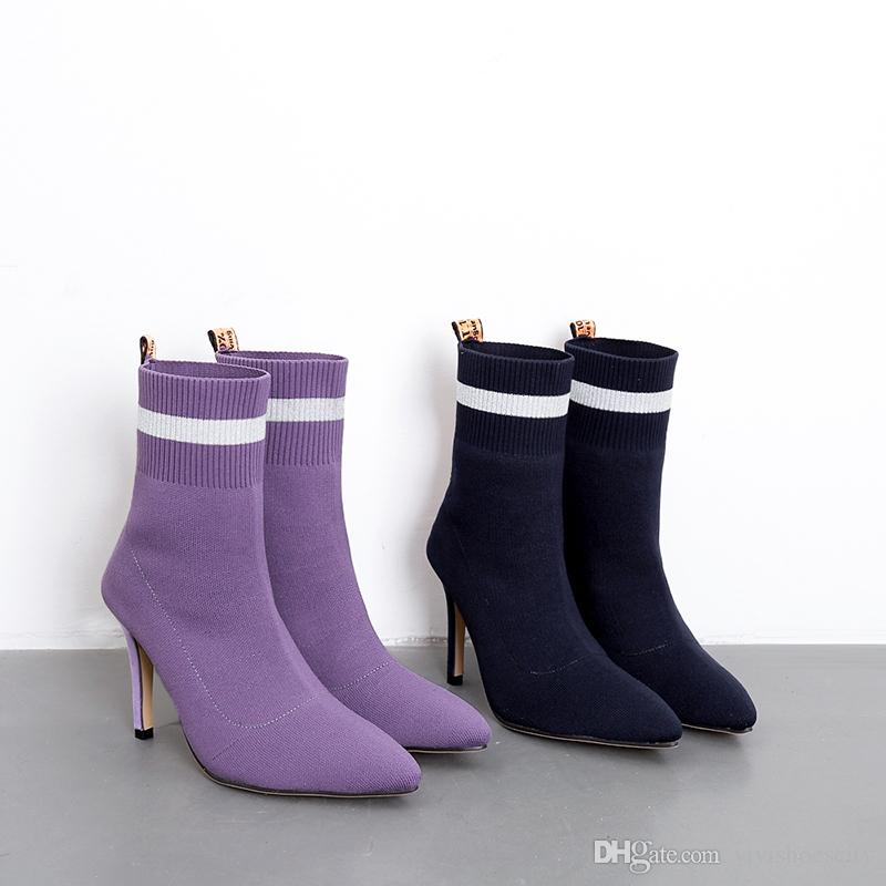 67a2c341ac1e24 Fashion Pointed Toe High Heel Ankle Boots Light Purple Navy Blue ...