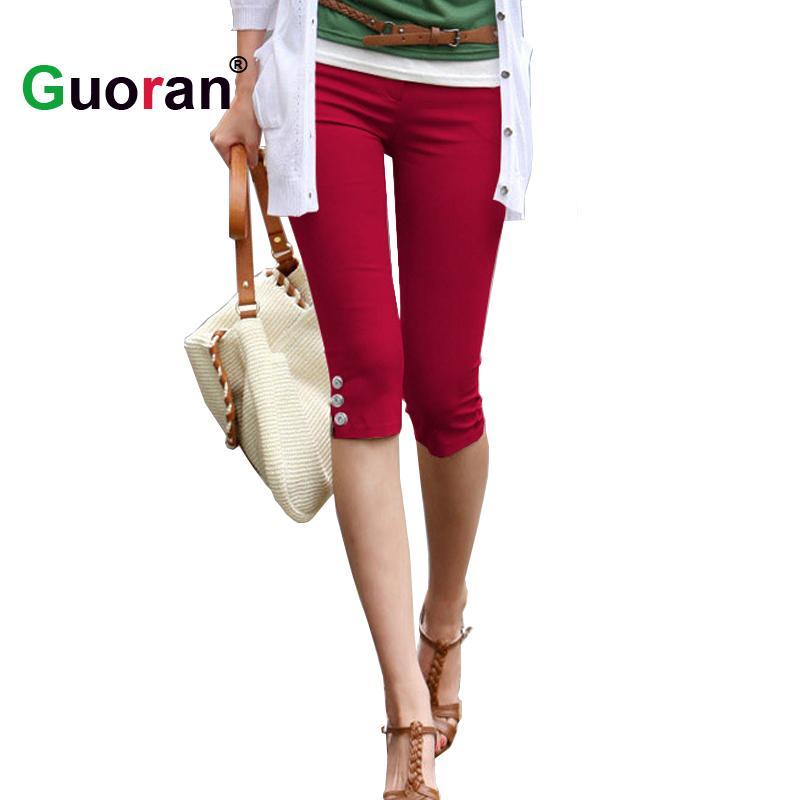 2019  Guoran   Summer Capri Leggings For Women 2017 Red Black White Stretch  Pencil Pants Ladies Casual Skinny Trousers Plus Size 4xl From Sweatcloth e2d5f669758b0