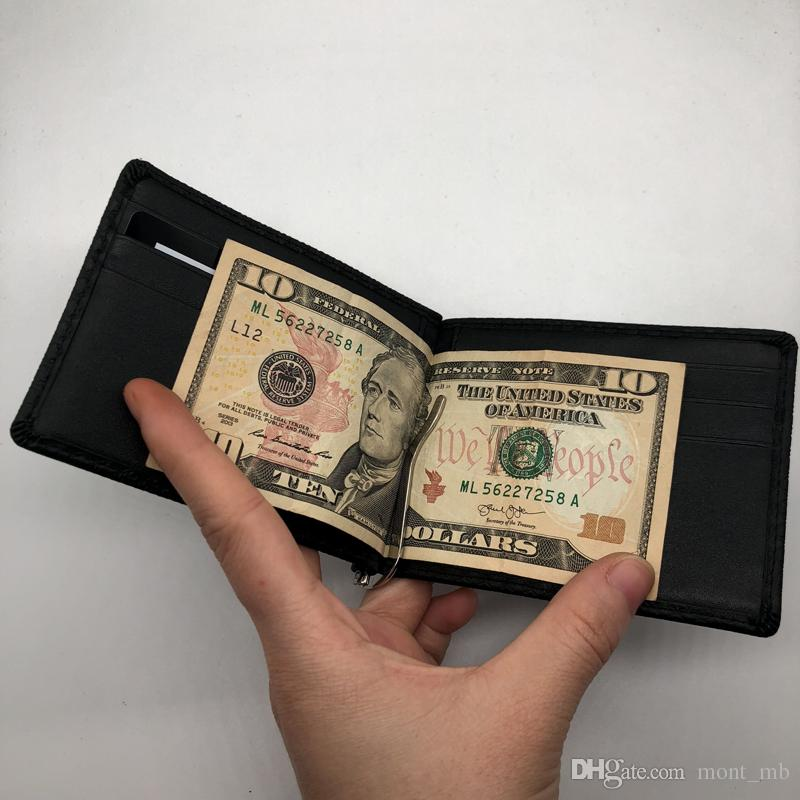 Luxury Fashion Men's Casual Leather Wallet M B Black Short Credit Card Holder Purse MB Pocket MT High Quality ID Card Case