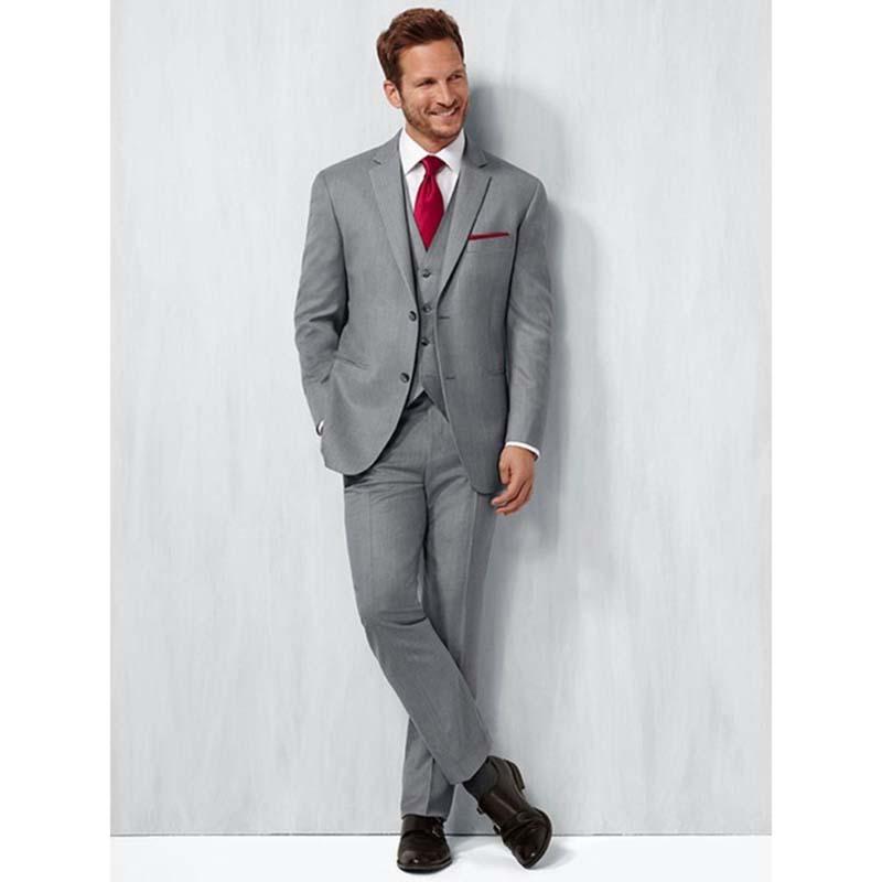 Compre Moda Gris Claro Para Hombre Trajes De Boda Slim Fit Novio Esmoquin  Tres Piezas Formal De Negocios Traje De Los Hombres Chaqueta + Pantalones +  ... cbac6e392a9