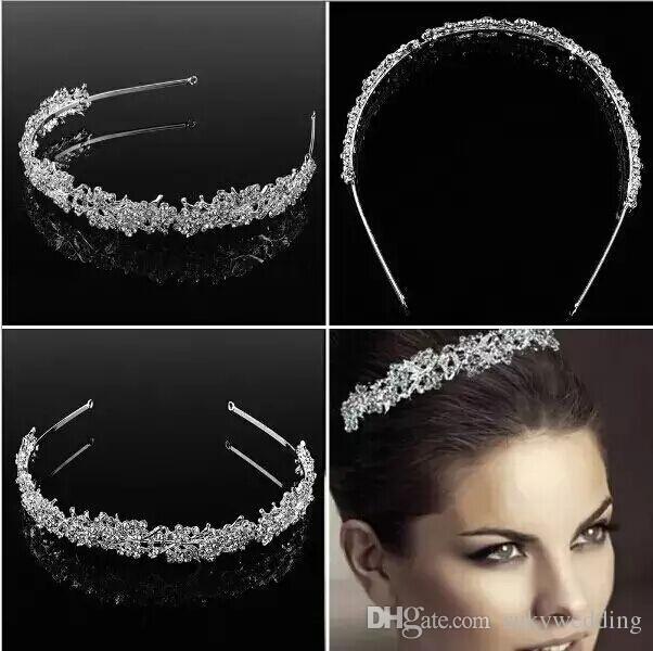 Joyería nupcial del pelo de la boda Niñas Rhinestone Blingbling nupcial Headpieces Corona Rhinestone plata nupcial accesorios para el cabello para bodas