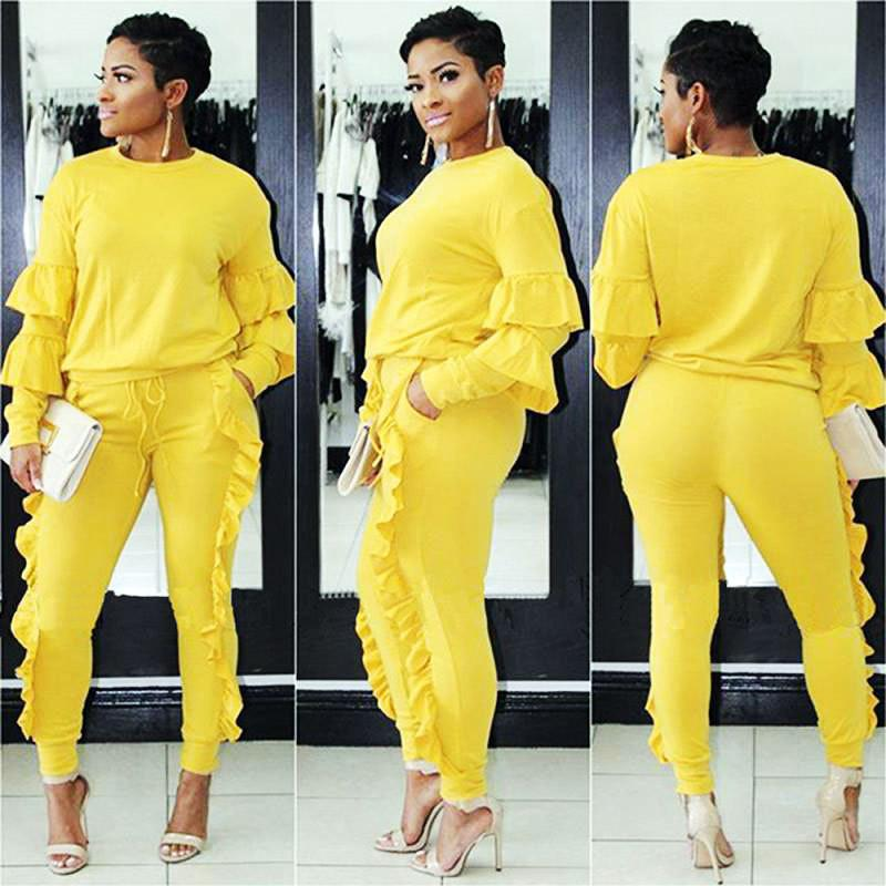 c3c18d49751 2019 Women Plus Size 3XL Tracksuits Long Sleeve Casual Tops And Pants Suits  Two Piece Pants Sets Outfit Ruffled Pant Sets From Movearound