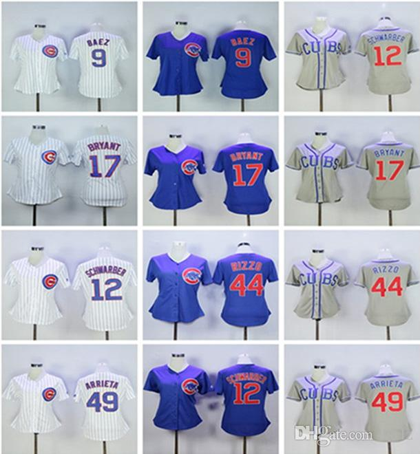 huge discount 469ab 20302 Womens Chicago Cubs Kris Bryant Javier Baez Anthony Rizzo Kyle Schwarber  Cool Base White gray blue 2018 Baseball Jersey