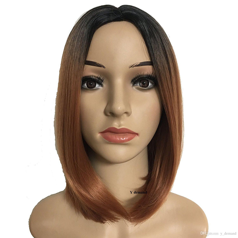Ombre Farbe Kurze Bob Brown Style Perücke Simulation Brasilianisches Menschenhaar Ombre Kurze Bob Style Perücke Mit Bang Für Schwarze Frauen