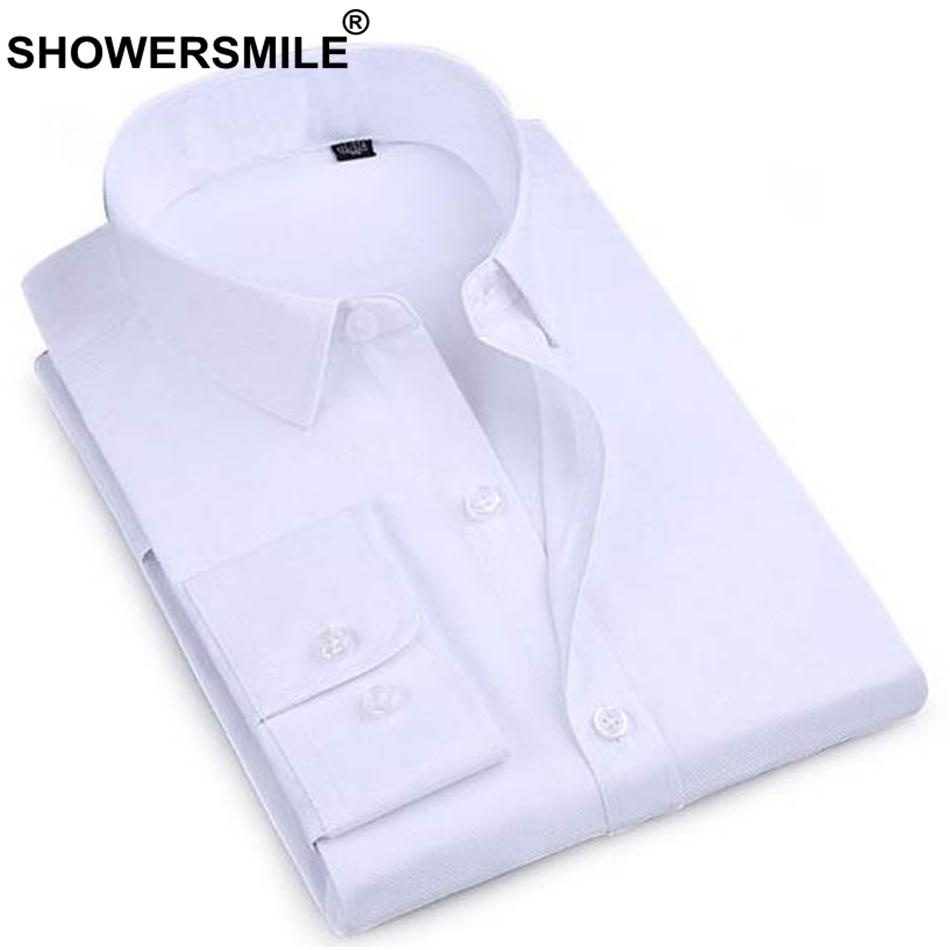 2019 Showersmile Business Formal Shirt Men White Cotton Dress Shirt