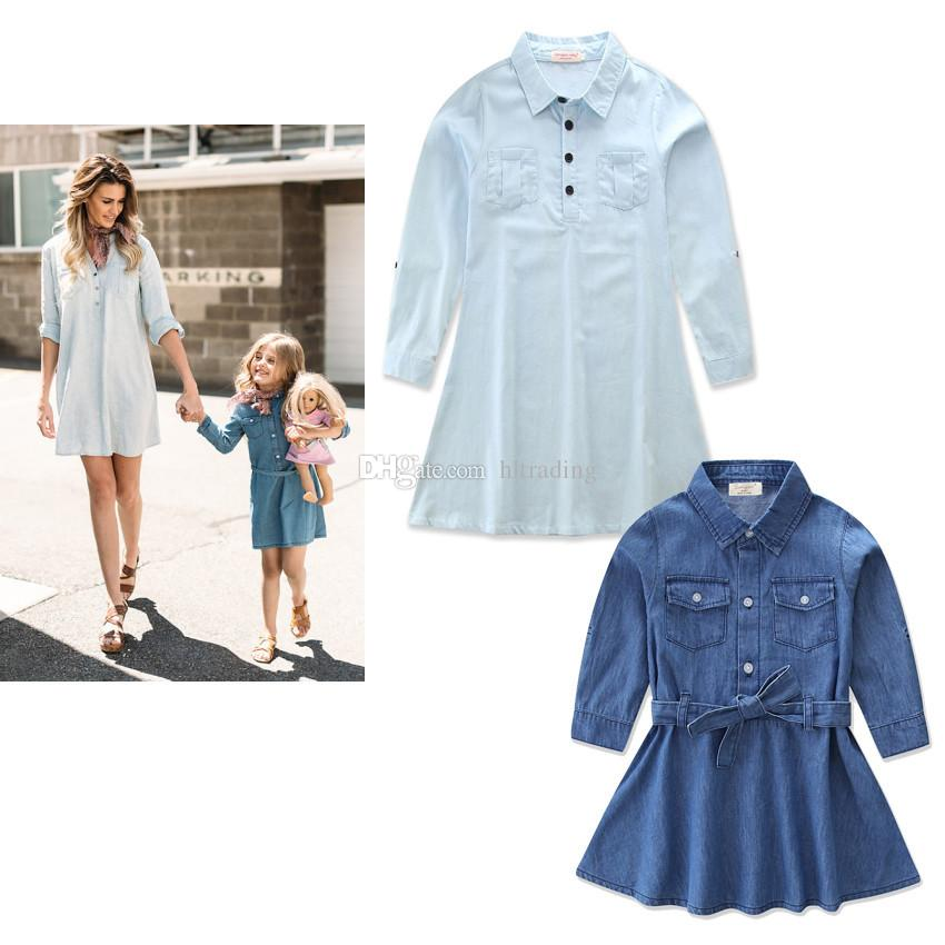 Family Matching clothes Mother and daughter Denim Shirt dress 2018 new Spring Autumn Mother and daughter princess dresses C3524
