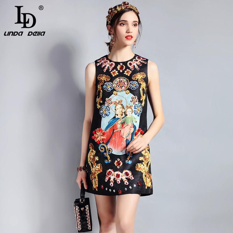 f54c7c53ae2e8 2019 LD LINDA DELLA Fashion Designer Summer Dress Women S Sleeveless Luxury  Crystal Beading Jacquard Print Straogjt Vintage Dress From Bunnier