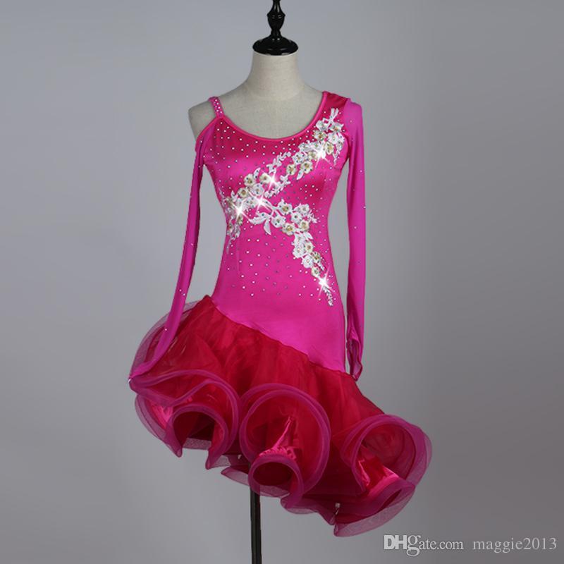 bad96c8b73a Acheter Robe De Danse Latine Filles Robe De Salsa Rouge Strass Costumes De  Danse Tango Vêtements De Danse Vêtements De Samba Avec Volants Grand Ourlet  De ...