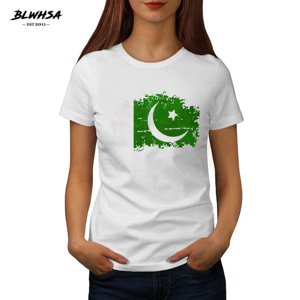 cf5bf3b9d Camiseta de mujer Blwhsa 2017 Camiseta Mujer Primavera Verano Mujer Bandera  Nacional de Pakistán Diseño Tops Camisetas para Mujer Camisetas de Manga ...