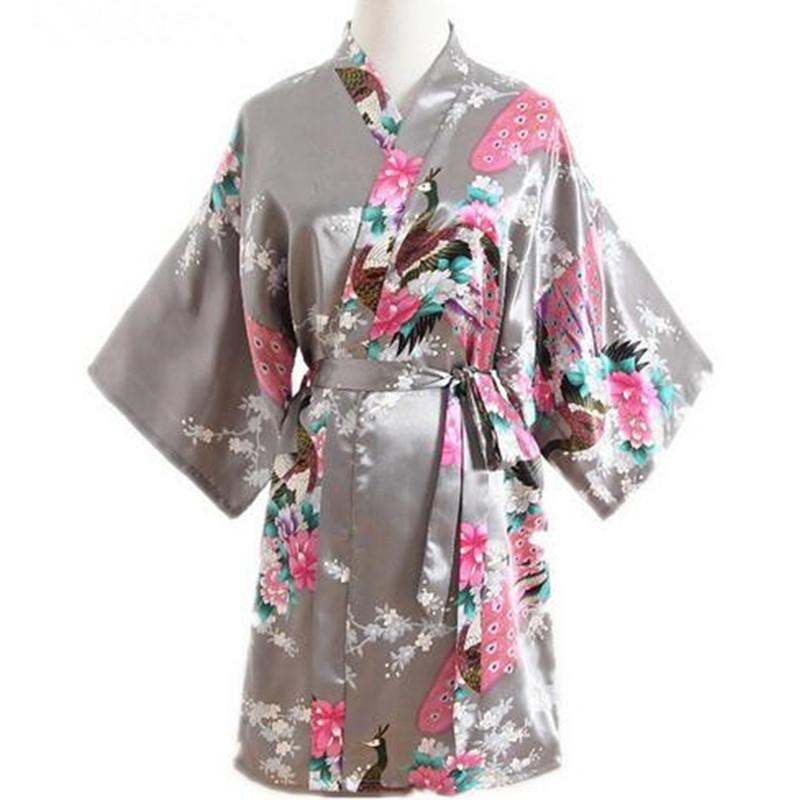 a142498ab5 Gray Peacock Ladie s Short Satin Robe Dressing Gown Women s Leisure ...