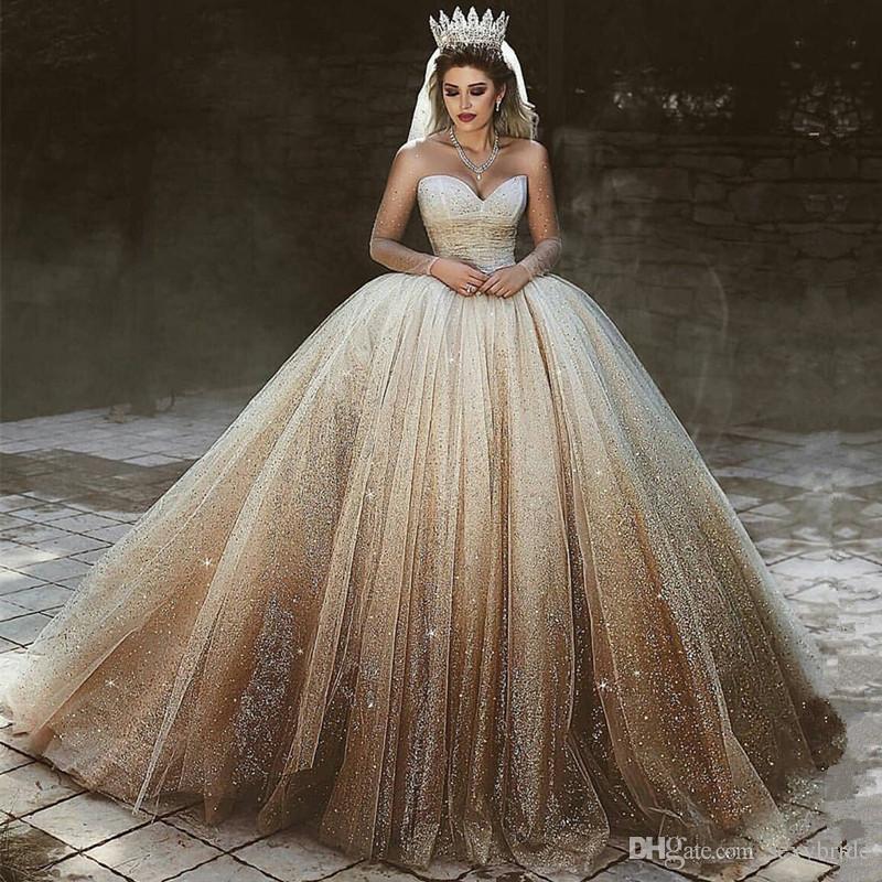 Champagne Luxurious Sweetheart Long Sleeve Wedding Dresses 2019 ...