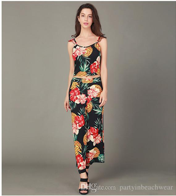 95dc613933209 2019 Women Two Pieces Pants Sets Tropical Leaf Printed Sexy Off Shoulder  Crop Top With Long Pants Set Casual Summer Bohemian Beach Holiday Suits From  ...