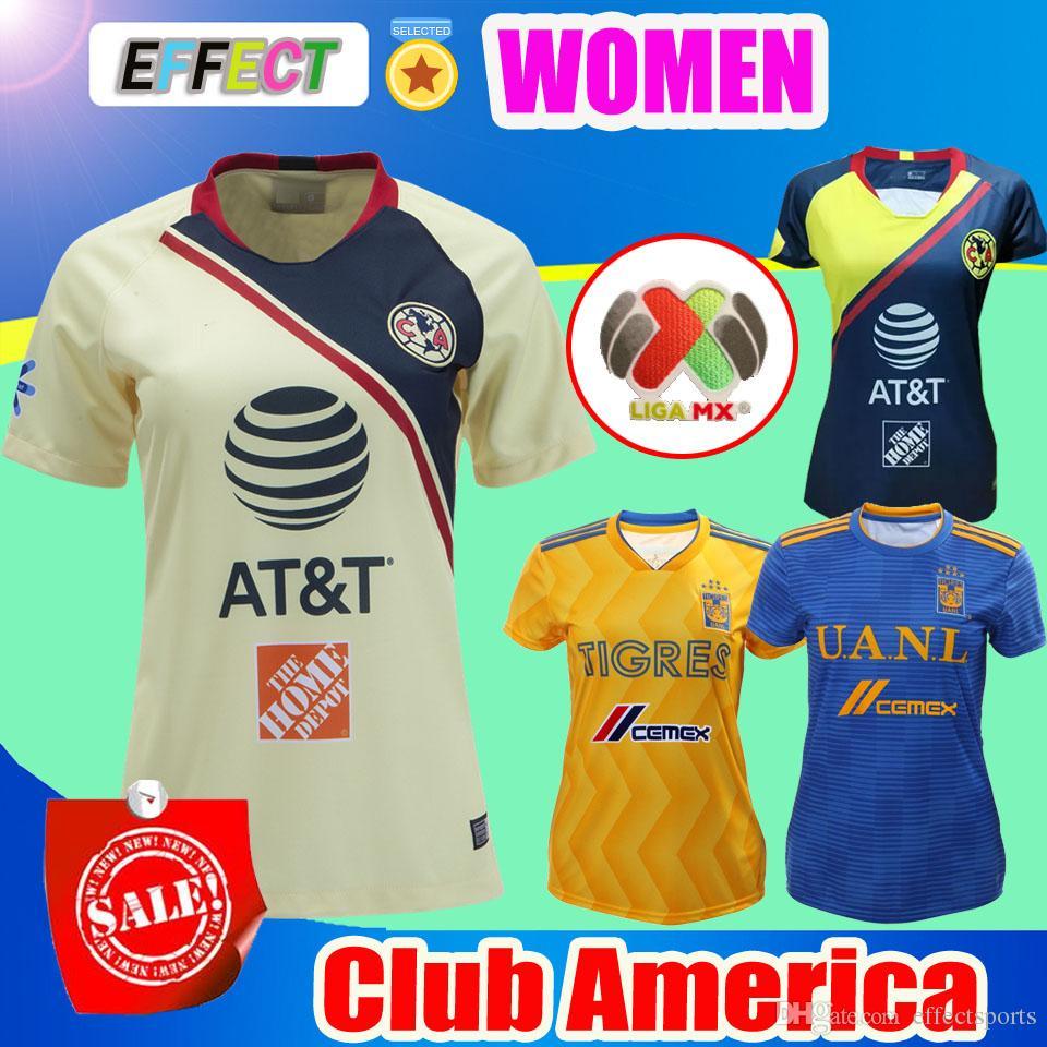 Camisetas De Fútbol De Jersey Femenino 2018 LIGA MX Club América Femenino 2019  Camisetas De Fútbol De Local De Visitante De Tigres 2019 De Tigres Por ... d1dc17e40c3e0
